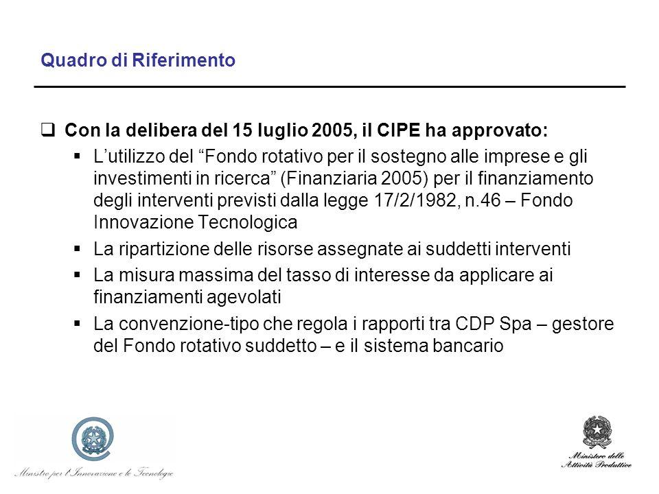 Quadro di Riferimento Con la delibera del 15 luglio 2005, il CIPE ha approvato: Lutilizzo del Fondo rotativo per il sostegno alle imprese e gli investimenti in ricerca (Finanziaria 2005) per il finanziamento degli interventi previsti dalla legge 17/2/1982, n.46 – Fondo Innovazione Tecnologica La ripartizione delle risorse assegnate ai suddetti interventi La misura massima del tasso di interesse da applicare ai finanziamenti agevolati La convenzione-tipo che regola i rapporti tra CDP Spa – gestore del Fondo rotativo suddetto – e il sistema bancario