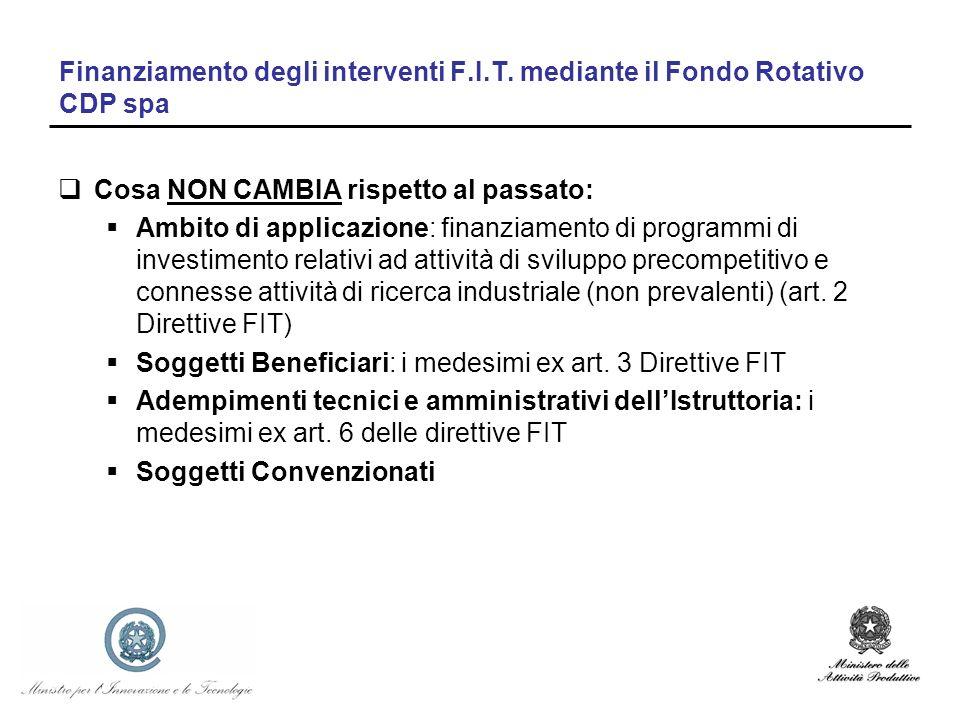 Finanziamento degli interventi F.I.T. mediante il Fondo Rotativo CDP spa Cosa NON CAMBIA rispetto al passato: Ambito di applicazione: finanziamento di