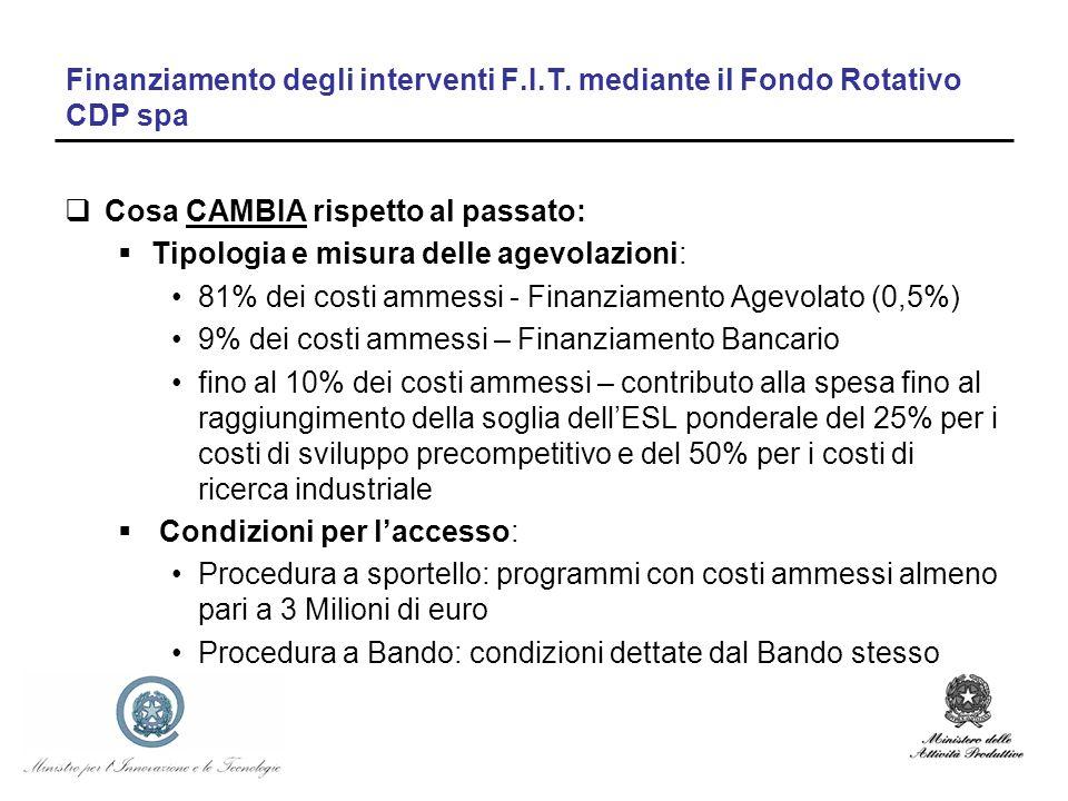 Finanziamento degli interventi F.I.T. mediante il Fondo Rotativo CDP spa Cosa CAMBIA rispetto al passato: Tipologia e misura delle agevolazioni: 81% d
