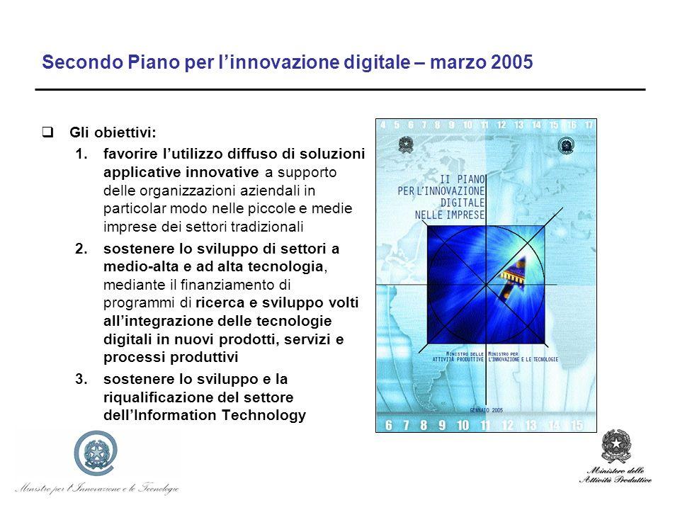 Secondo Piano per linnovazione digitale – marzo 2005 Gli obiettivi: 1.favorire lutilizzo diffuso di soluzioni applicative innovative a supporto delle