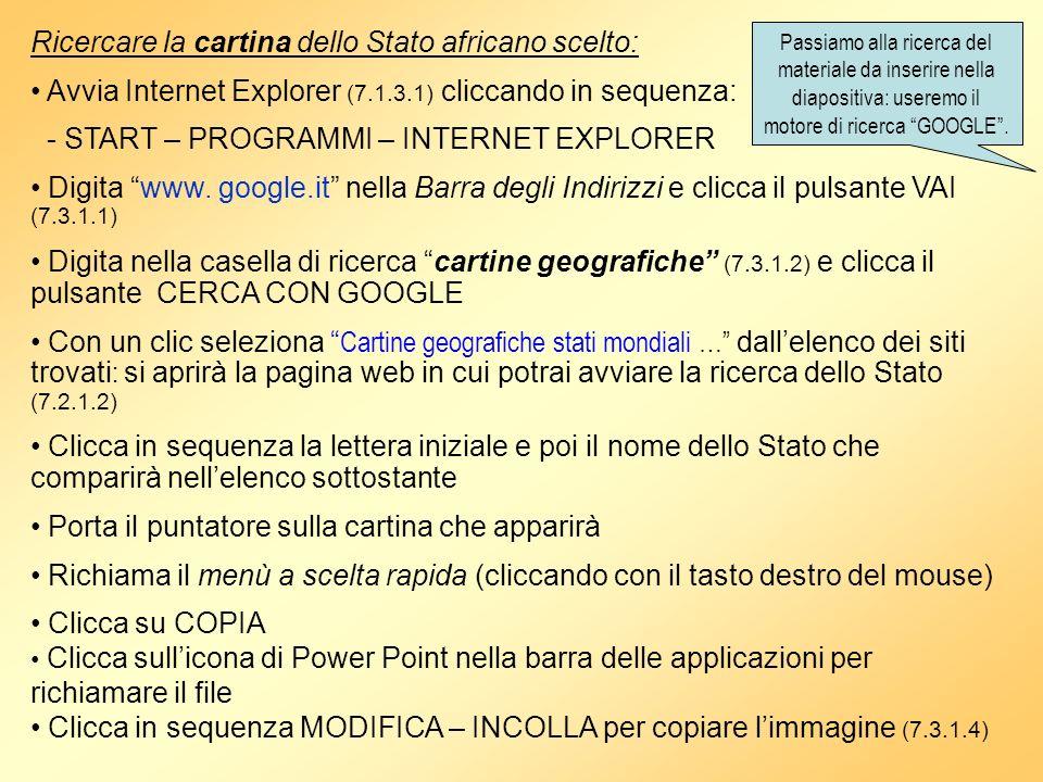 Ricercare la cartina dello Stato africano scelto: Avvia Internet Explorer (7.1.3.1) cliccando in sequenza: - START – PROGRAMMI – INTERNET EXPLORER Dig