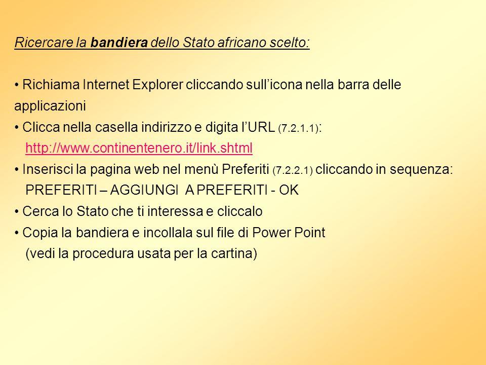 Inserire i dati generali dello Stato Puoi utilizzare il motore di ricerca o gli indirizzi predisposti nella TABELLA DI RIFERIMENTOTABELLA DI RIFERIMENTO Dopo aver trovato le informazioni che ti interessano: Seleziona il testo da importare Clicca in sequenza MODIFICA – COPIA Clicca sullicona di Power Point nella barra delle applicazioni per richiamare il file Clicca in sequenza MODIFICA – INCOLLA per copiare il testo sul tuo file (7.3.1.4)