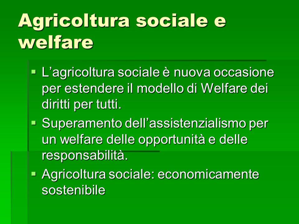 Agricoltura sociale e welfare Lagricoltura sociale è nuova occasione per estendere il modello di Welfare dei diritti per tutti. Lagricoltura sociale è