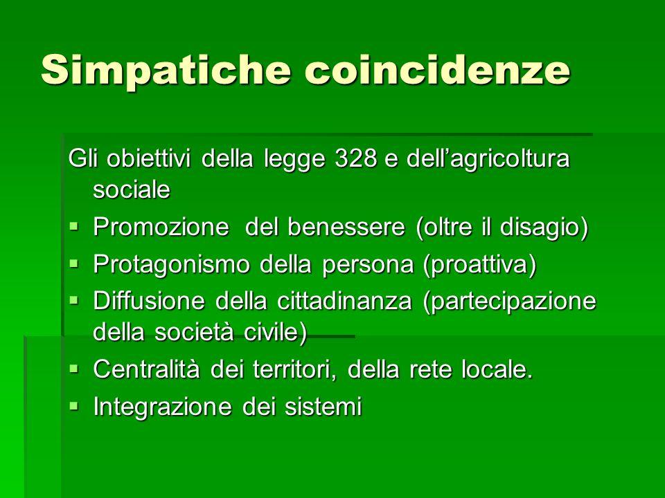 Simpatiche coincidenze Gli obiettivi della legge 328 e dellagricoltura sociale Promozione del benessere (oltre il disagio) Promozione del benessere (o