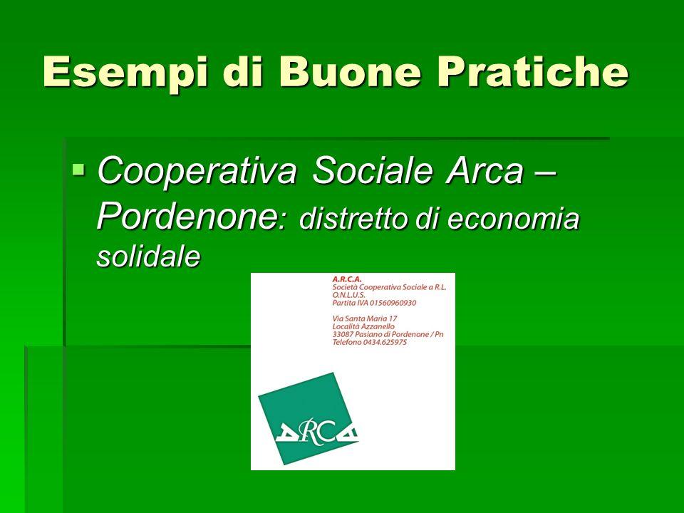 Esempi di Buone Pratiche Cooperativa Sociale Arca – Pordenone : distretto di economia solidale Cooperativa Sociale Arca – Pordenone : distretto di eco