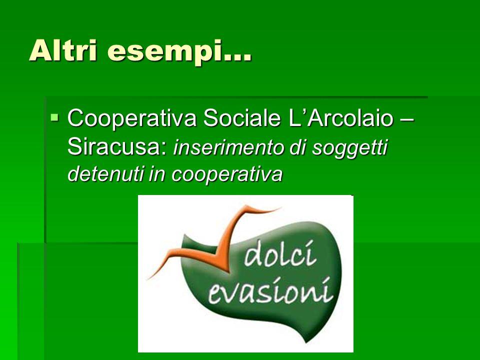 Altri esempi… Cooperativa Sociale LArcolaio – Siracusa: inserimento di soggetti detenuti in cooperativa Cooperativa Sociale LArcolaio – Siracusa: inse