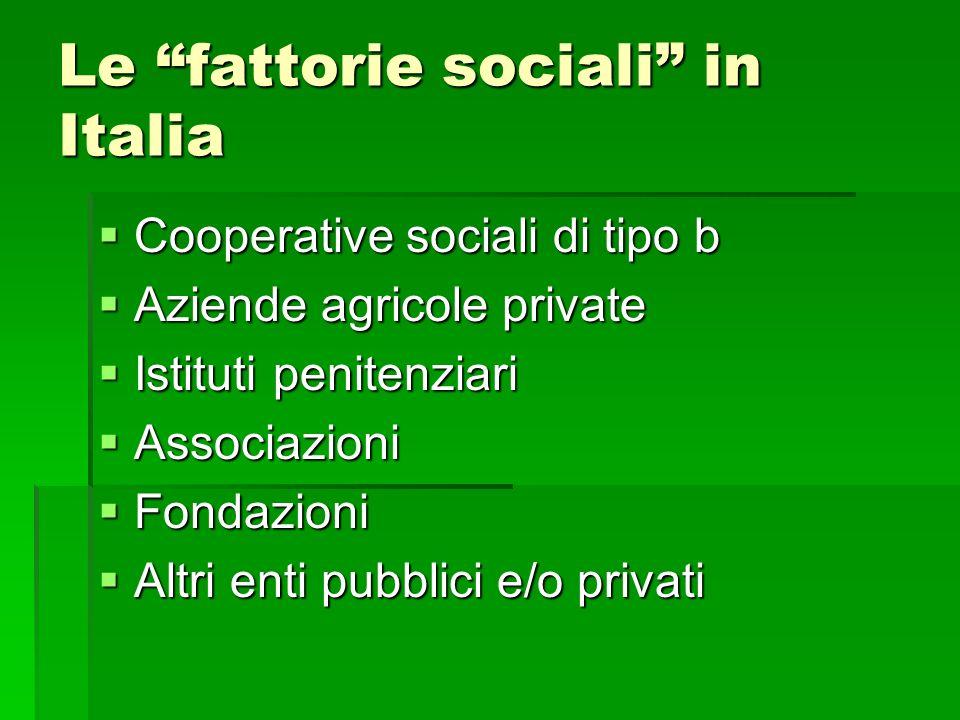 Le fattorie sociali in Italia Cooperative sociali di tipo b Cooperative sociali di tipo b Aziende agricole private Aziende agricole private Istituti p