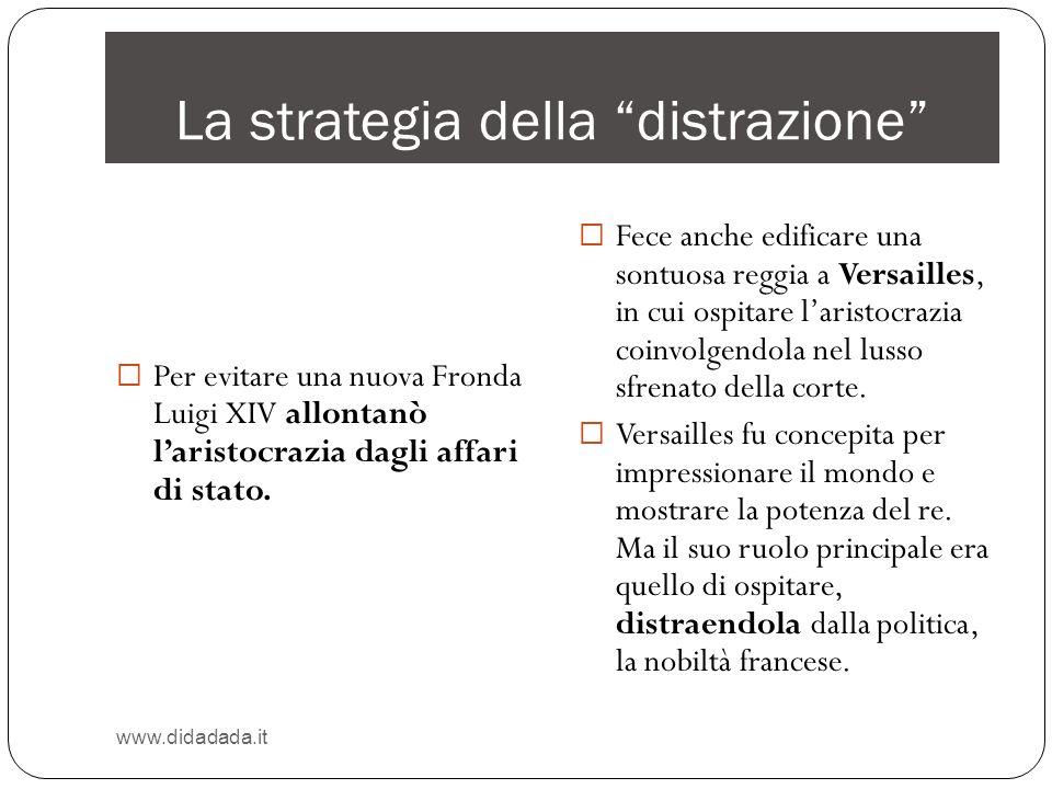 La strategia della distrazione www.didadada.it Per evitare una nuova Fronda Luigi XIV allontanò laristocrazia dagli affari di stato. Fece anche edific