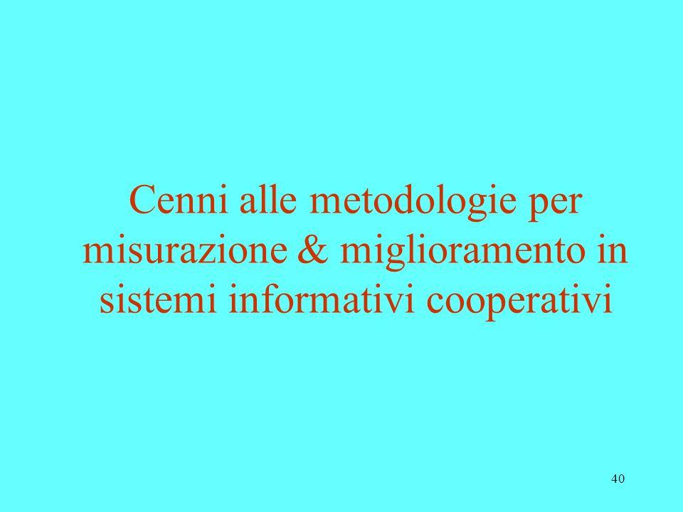 40 Cenni alle metodologie per misurazione & miglioramento in sistemi informativi cooperativi