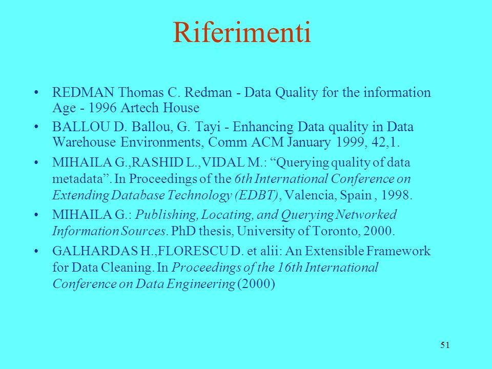51 Riferimenti REDMAN Thomas C. Redman - Data Quality for the information Age - 1996 Artech House BALLOU D. Ballou, G. Tayi - Enhancing Data quality i
