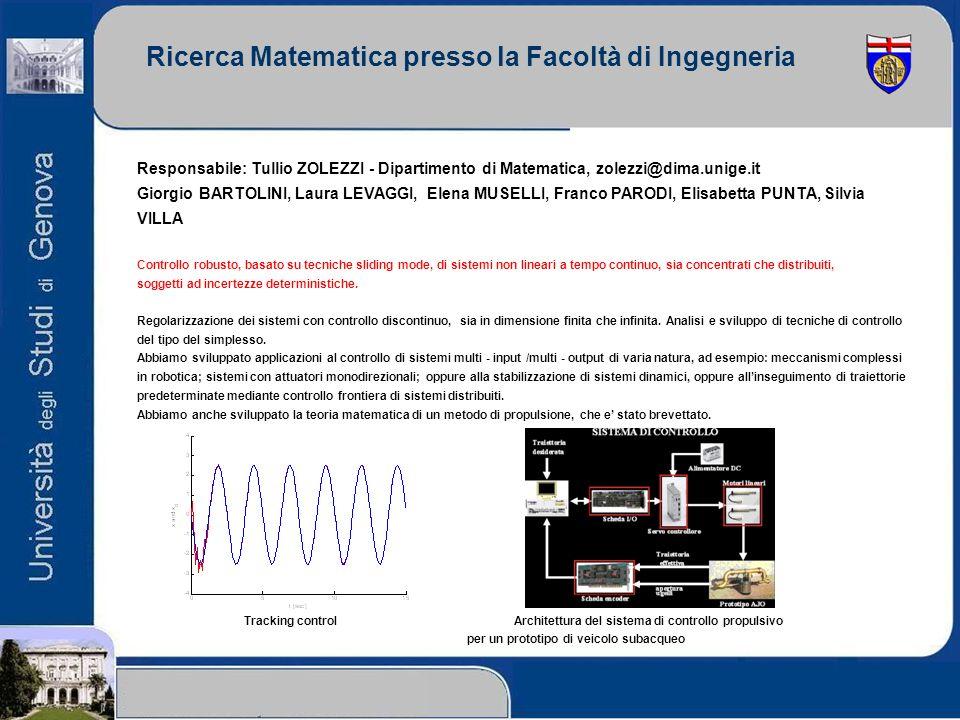 Ricerca Matematica presso la Facoltà di Ingegneria Responsabile: Tullio ZOLEZZI - Dipartimento di Matematica, zolezzi@dima.unige.it Giorgio BARTOLINI,
