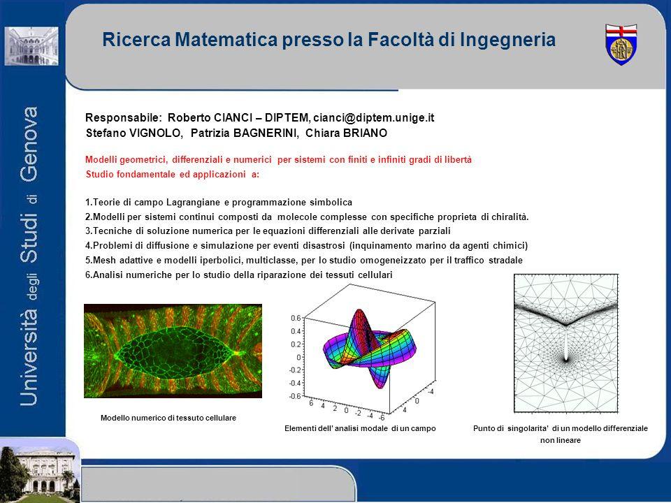 Ricerca Matematica presso la Facoltà di Ingegneria Responsabile: Roberto CIANCI – DIPTEM, cianci@diptem.unige.it Stefano VIGNOLO, Patrizia BAGNERINI,