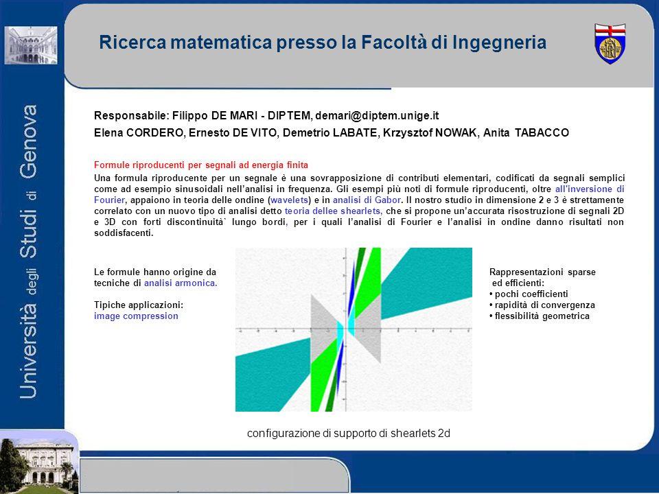 Ricerca matematica presso la Facolt à di Ingegneria Responsabile: Filippo DE MARI - DIPTEM, demari@diptem.unige.it Elena CORDERO, Ernesto DE VITO, Dem