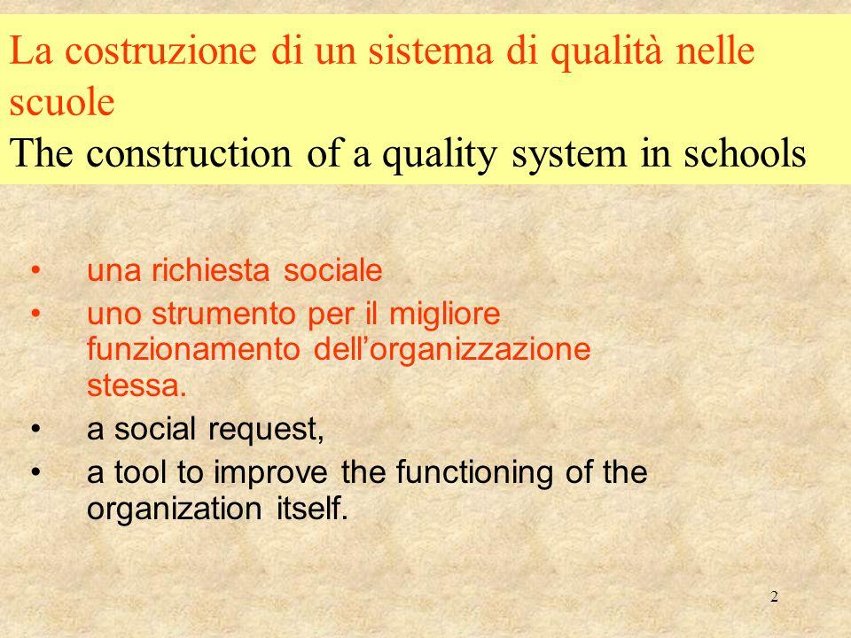 2 La costruzione di un sistema di qualità nelle scuole The construction of a quality system in schools una richiesta sociale uno strumento per il migliore funzionamento dellorganizzazione stessa.