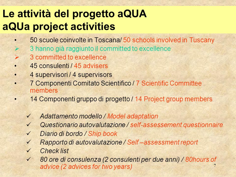 8 Il modello nazionale EFQM per la scuola National EFQM model for schools Modello Nazionale / National Model –Polo Qualità di Milano –Premio per le scuole del Veneto –lAICQ –APQUI