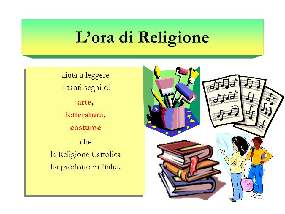 aiuta a leggere i tanti segni di arte, letteratura, costume che la Religione Cattolica ha prodotto in Italia. aiuta a leggere i tanti segni di arte, l