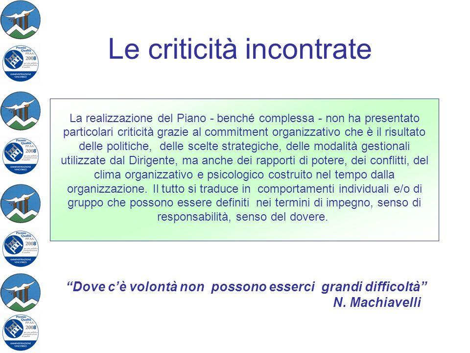 Le criticità incontrate La realizzazione del Piano - benché complessa - non ha presentato particolari criticità grazie al commitment organizzativo che