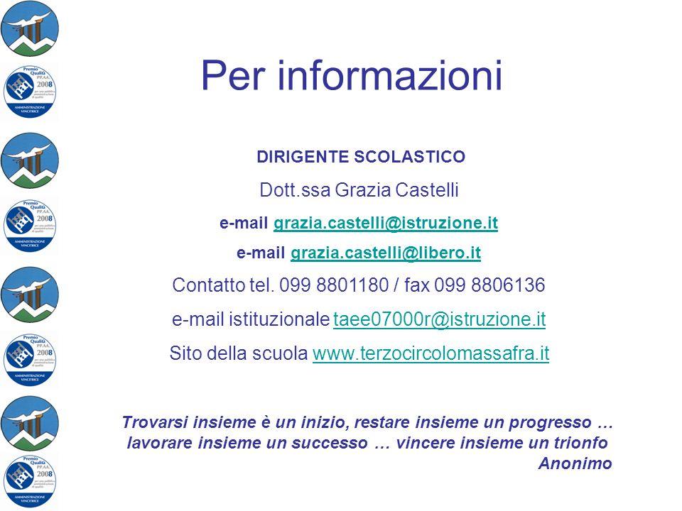 Per informazioni DIRIGENTE SCOLASTICO Dott.ssa Grazia Castelli e-mail grazia.castelli@istruzione.itgrazia.castelli@istruzione.it e-mail grazia.castell