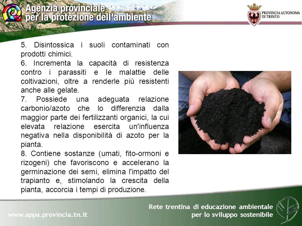 Rete trentina di educazione ambientale per lo sviluppo sostenibile www.appa.provincia.tn.it 5. Disintossica i suoli contaminati con prodotti chimici.