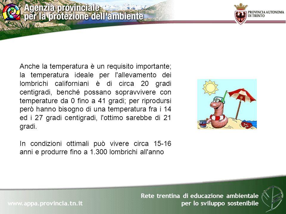 Rete trentina di educazione ambientale per lo sviluppo sostenibile www.appa.provincia.tn.it Anche la temperatura è un requisito importante; la tempera