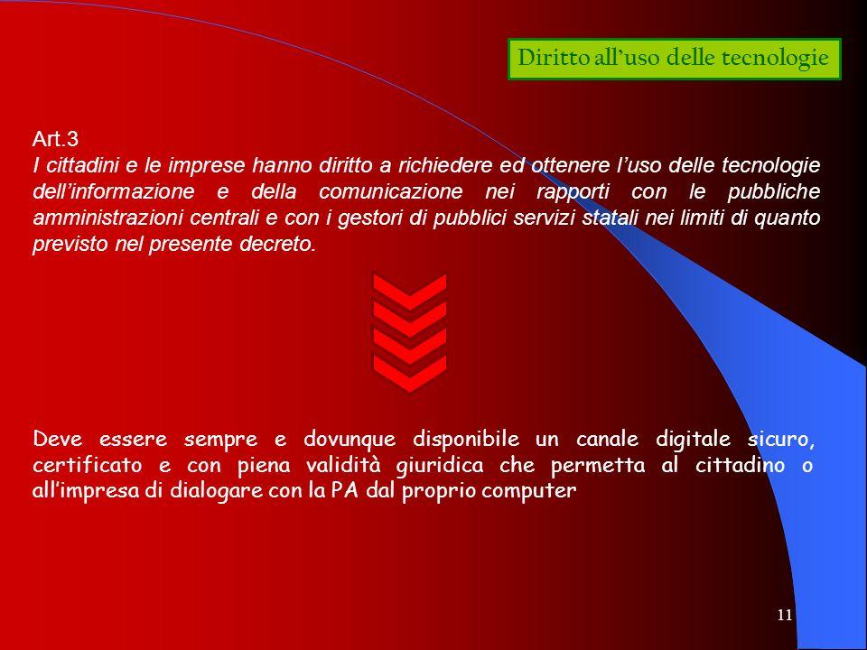 11 Diritto alluso delle tecnologie Art.3 I cittadini e le imprese hanno diritto a richiedere ed ottenere luso delle tecnologie dellinformazione e dell