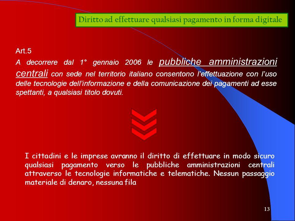 13 Diritto ad effettuare qualsiasi pagamento in forma digitale Art.5 A decorrere dal 1° gennaio 2006 le pubbliche amministrazioni centrali con sede ne