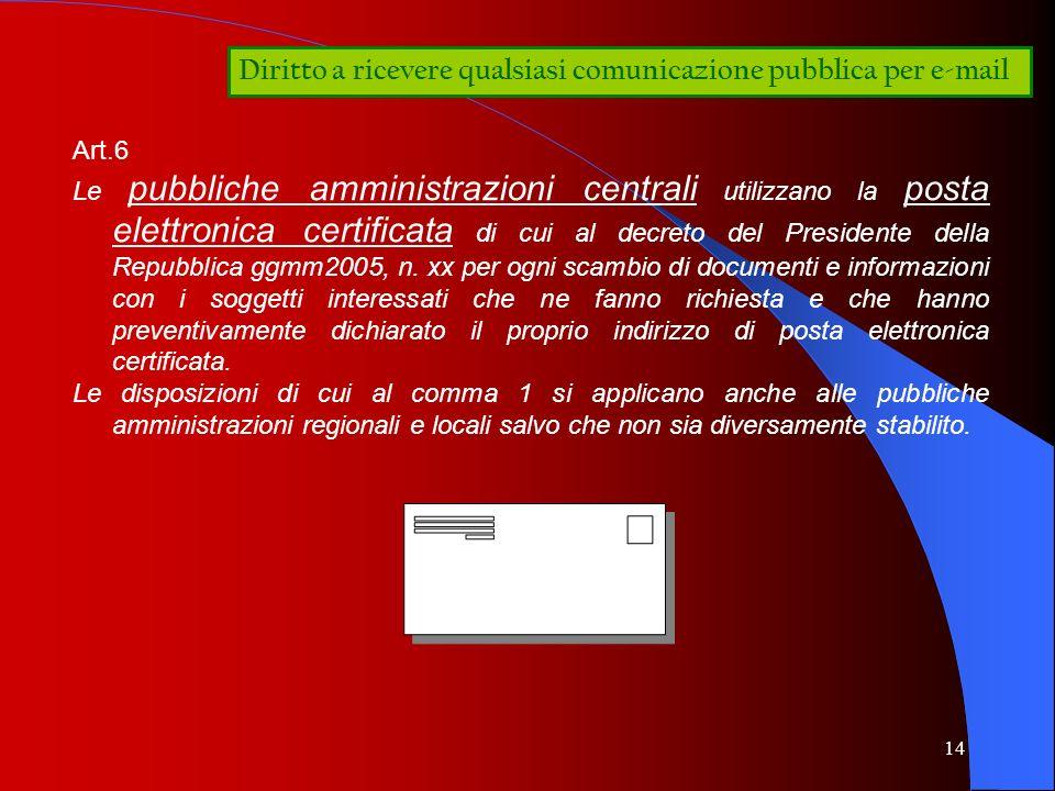 14 Diritto a ricevere qualsiasi comunicazione pubblica per e-mail Art.6 Le pubbliche amministrazioni centrali utilizzano la posta elettronica certific