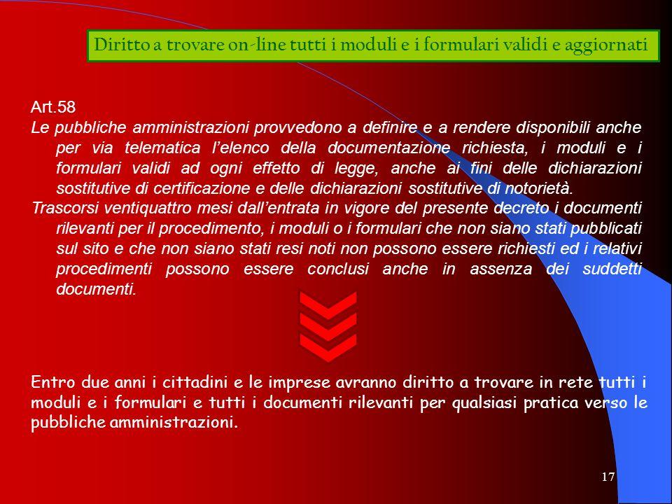 17 Diritto a trovare on-line tutti i moduli e i formulari validi e aggiornati Art.58 Le pubbliche amministrazioni provvedono a definire e a rendere di