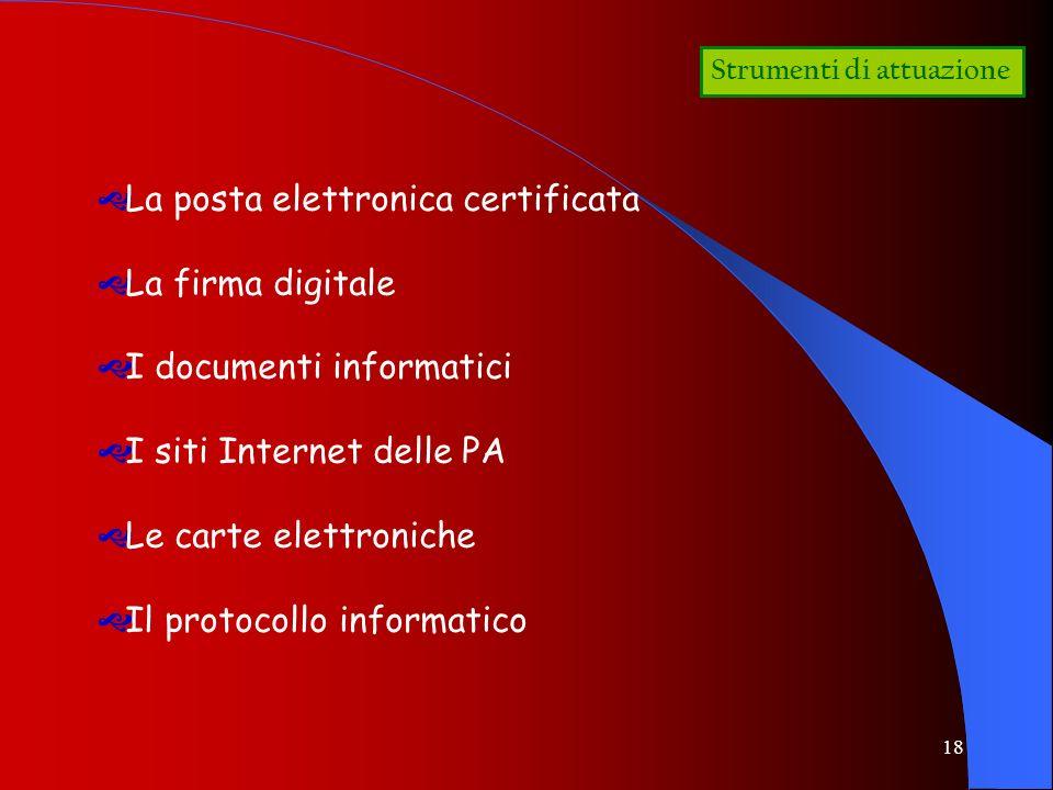 18 Strumenti di attuazione La posta elettronica certificata La firma digitale I documenti informatici I siti Internet delle PA Le carte elettroniche I