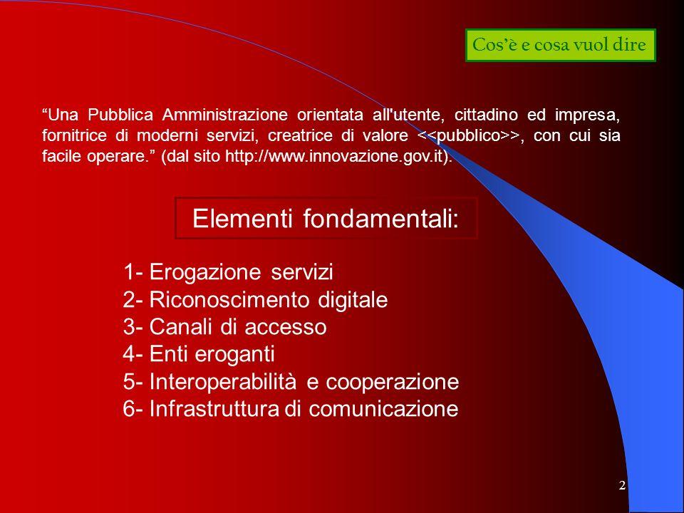3 La prima fase dellE-Gov La promozione di progetti di e-government volti allo sviluppo di servizi infrastrutturali e servizi finali allutenza 1- 2- La definizione di un comune quadro tecnico e metodologico di riferimento 3- La creazione della rete dei Centri Regionali di Competenza (CRC) Tre linee di azione