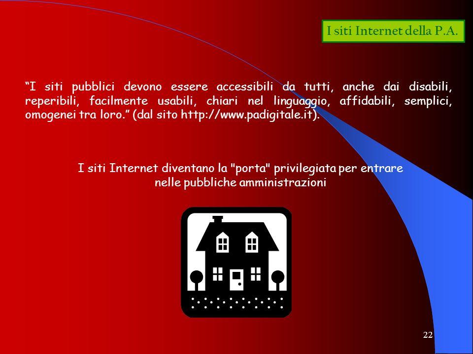22 I siti Internet della P.A. I siti pubblici devono essere accessibili da tutti, anche dai disabili, reperibili, facilmente usabili, chiari nel lingu