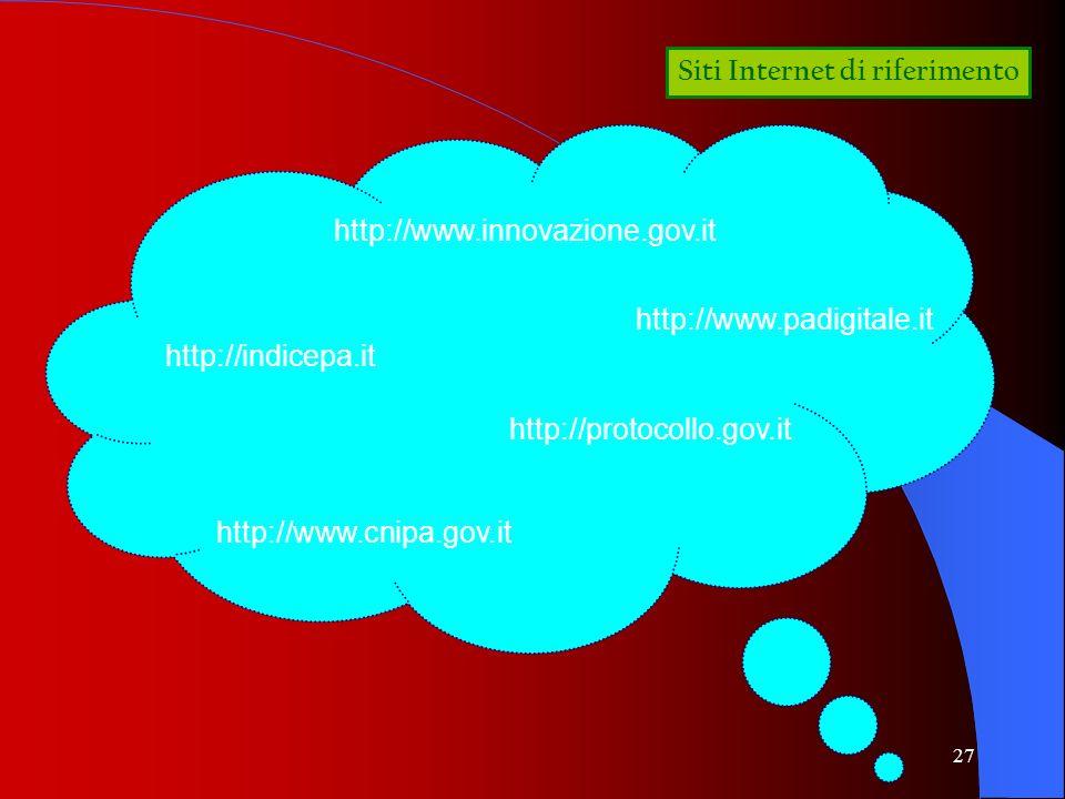 27 Siti Internet di riferimento http://www.padigitale.it http://www.cnipa.gov.it http://protocollo.gov.it http://indicepa.it http://www.innovazione.go