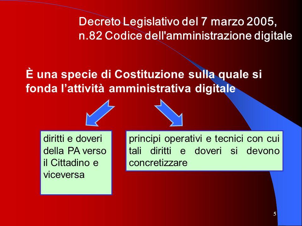 5 Decreto Legislativo del 7 marzo 2005, n.82 Codice dell'amministrazione digitale È una specie di Costituzione sulla quale si fonda lattività amminist