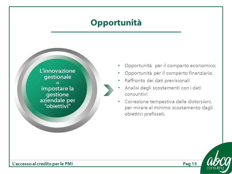 Pag 15Laccesso al credito per le PMI Opportunità Opportunità per il comparto economico; Opportunità per il comparto finanziario.