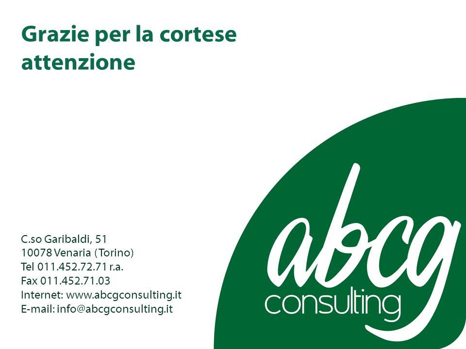 Grazie per la cortese attenzione C.so Garibaldi, 51 10078 Venaria (Torino) Tel 011.452.72.71 r.a.
