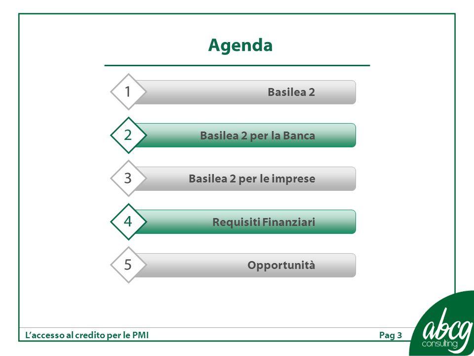 Pag 3Laccesso al credito per le PMI Agenda Basilea 2 1 Basilea 2 per la Banca 2 Basilea 2 per le imprese 3 Requisiti Finanziari 4 Opportunità 5