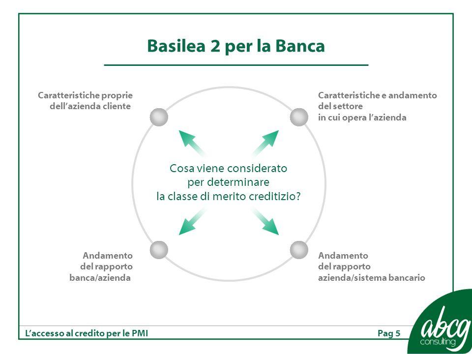 Pag 5Laccesso al credito per le PMI Basilea 2 per la Banca Cosa viene considerato per determinare la classe di merito creditizio.