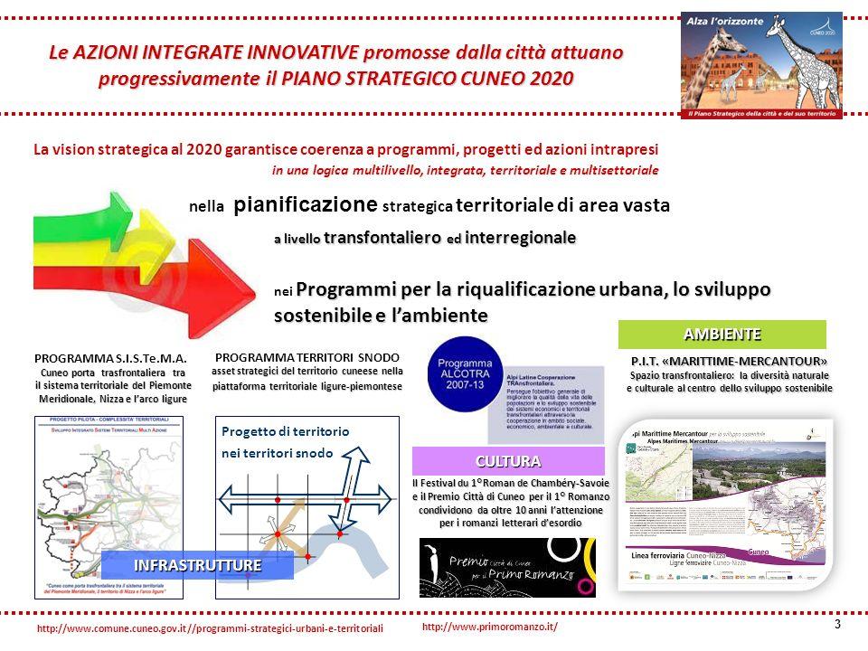 La vision strategica al 2020 garantisce coerenza a programmi, progetti ed azioni intrapresi in una logica multilivello, integrata, territoriale e multisettoriale 3 nella pianificazione strategica territoriale di area vasta a livello transfontaliero ed interregionale Programmi per la riqualificazione urbana, lo sviluppo sostenibile e lambiente nei Programmi per la riqualificazione urbana, lo sviluppo sostenibile e lambiente Le AZIONI INTEGRATE INNOVATIVE promosse dalla città attuano progressivamente il PIANO STRATEGICO CUNEO 2020 Cuneo porta trasfrontaliera tra il sistema territoriale del Piemonte Meridionale, Nizza e larco ligure PROGRAMMA S.I.S.Te.M.A.