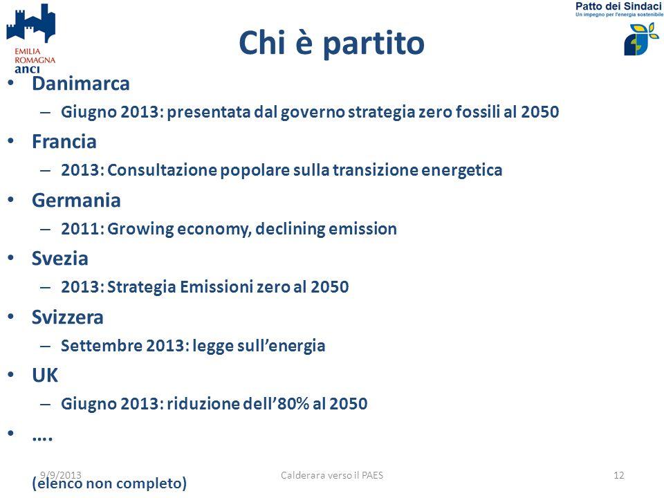 Chi è partito 9/9/2013Calderara verso il PAES12 Danimarca – Giugno 2013: presentata dal governo strategia zero fossili al 2050 Francia – 2013: Consult