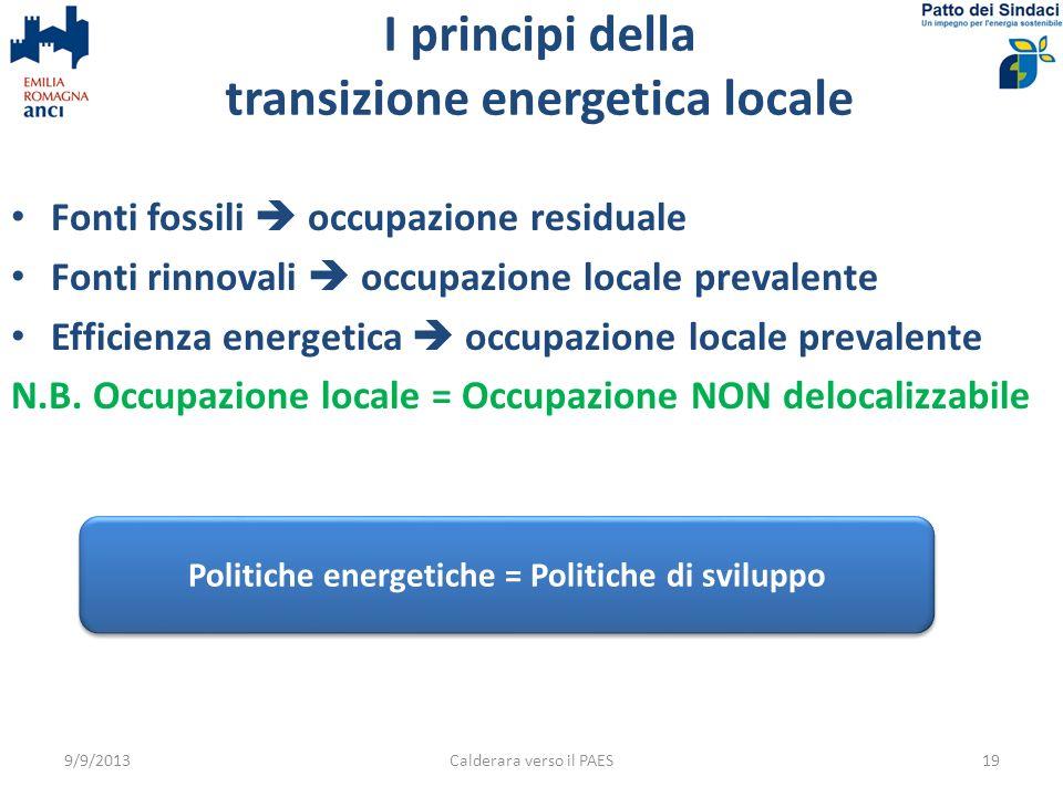 Fonti fossili occupazione residuale Fonti rinnovali occupazione locale prevalente Efficienza energetica occupazione locale prevalente N.B.