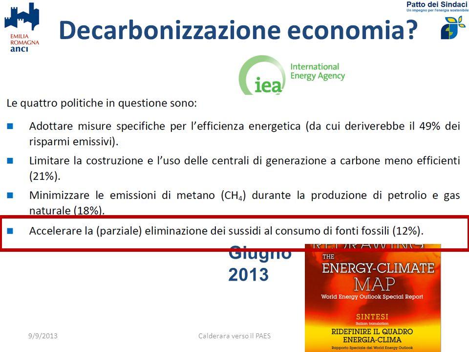 Calderara verso il PAES15 Quota che contribuisce alloccupazione locale (venditori & distributori) 9/9/2013 Guardiamo alcuni dati