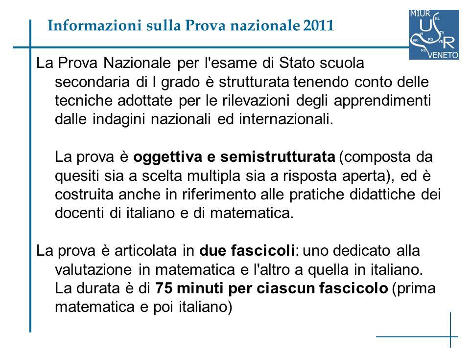 La Prova Nazionale per l esame di Stato scuola secondaria di I grado è strutturata tenendo conto delle tecniche adottate per le rilevazioni degli apprendimenti dalle indagini nazionali ed internazionali.