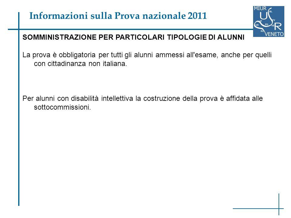 SOMMINISTRAZIONE PER PARTICOLARI TIPOLOGIE DI ALUNNI La prova è obbligatoria per tutti gli alunni ammessi all esame, anche per quelli con cittadinanza non italiana.