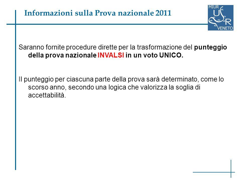Saranno fornite procedure dirette per la trasformazione del punteggio della prova nazionale INVALSI in un voto UNICO.