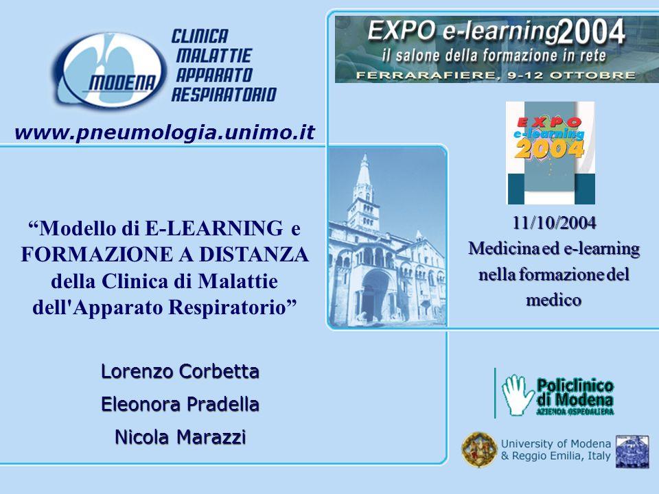 Lorenzo Corbetta Eleonora Pradella Nicola Marazzi www.pneumologia.unimo.it 11/10/2004 Medicina ed e-learning nella formazione del medico Modello di E-