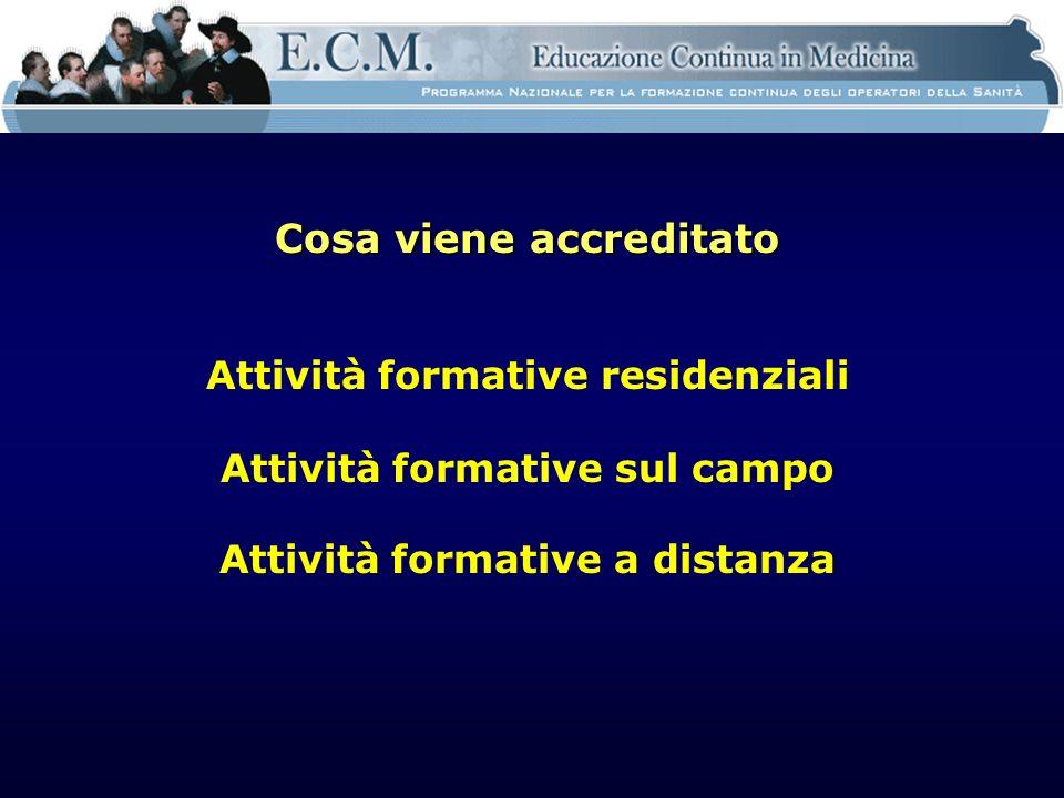 Cosa viene accreditato Attività formative residenziali Attività formative sul campo Attività formative a distanza