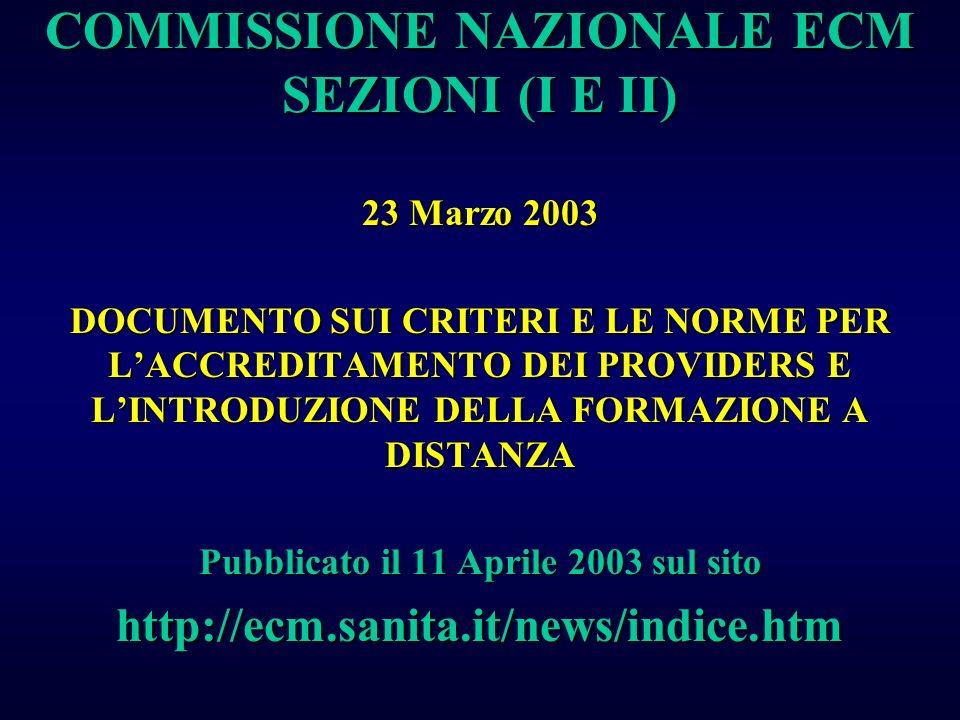 COMMISSIONE NAZIONALE ECM SEZIONI (I E II) 23 Marzo 2003 DOCUMENTO SUI CRITERI E LE NORME PER LACCREDITAMENTO DEI PROVIDERS E LINTRODUZIONE DELLA FORM