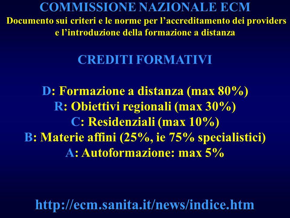 COMMISSIONE NAZIONALE ECM Documento sui criteri e le norme per laccreditamento dei providers e lintroduzione della formazione a distanza http://ecm.sa