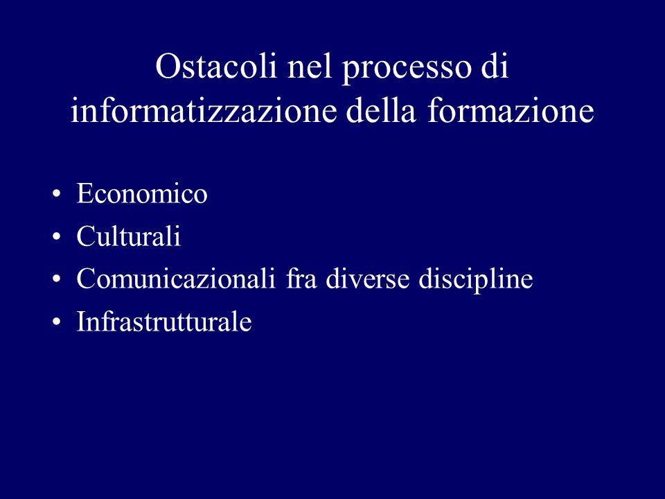 Ostacoli nel processo di informatizzazione della formazione Economico Culturali Comunicazionali fra diverse discipline Infrastrutturale