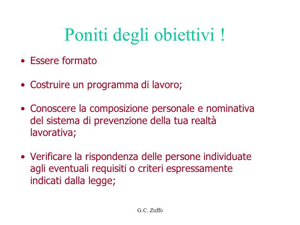G.C. Zuffo Poniti degli obiettivi ! Essere formato Costruire un programma di lavoro; Conoscere la composizione personale e nominativa del sistema di p